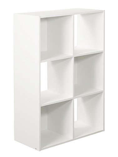 6-Cube Organizer, White (Shelving Bin Unit)