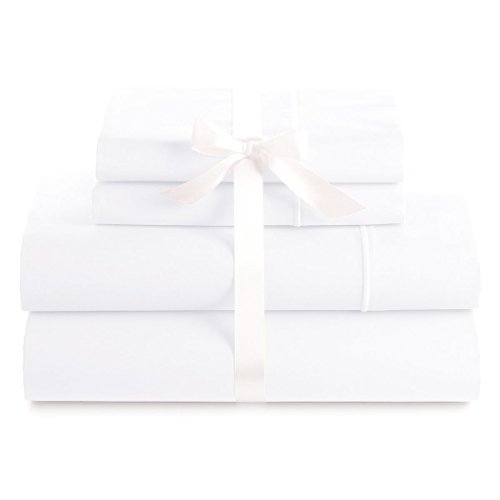 Bluemoon Homes Genuine Premium Egyptian Cotton 1000 Thread Count Italian Finish White 4-Piece Sheet Set, 19 inches Deep Pocket, Solid, Size - White Thread 1000