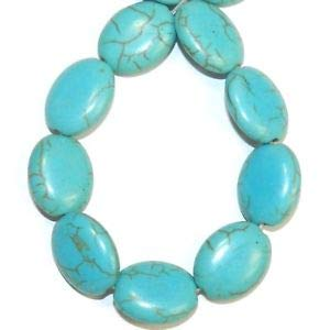NG3057 Blue-Green Turquoise 16mm Flat Puffed Oval Magnesite Gemstone Beads 15
