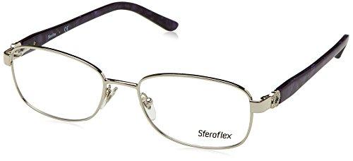 (Sferoflex SF2570 Eyeglass Frames 491-54 - Shiny Silver Frame, Demo Lens)
