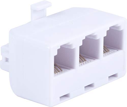 Adaptador triplex para telefone Power Gear, design de 4 fios, casa ou escritório, compatível com máquinas de atender, modems, máquinas de fax, todas a