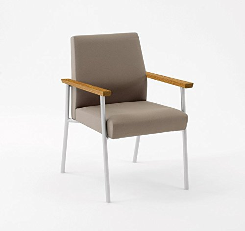 Lesro Mystic Guest Chair with Medium Oak Wood Armrests, White Frame, Core Burst Fabric (Lesro Arm Chairs Oak)