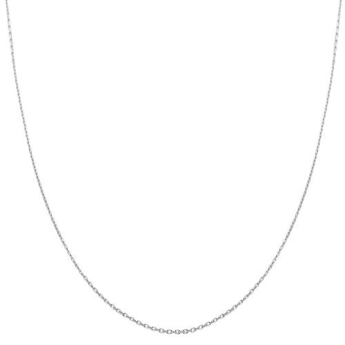 Jewelry Chain Box White (14K Yellow or White or Rose/Pink Gold 0.8mm Shiny Diamond Cut Cable Link Chain Necklace for Pendants and Charms with Lobster-Claw Clasp (16