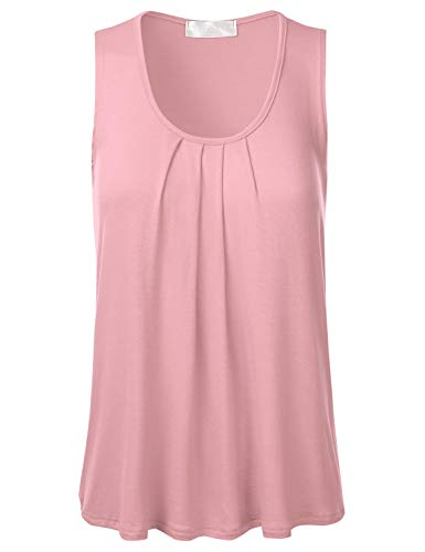 FLORIA Womens Round Neck Pleated Front Sleeveless Stretchy Blouse Tank Top Dustypink - Blouse Pink Peasant