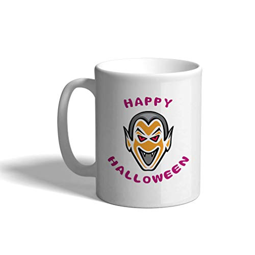 Custom Funny Coffee Mug Coffee Cup Scary Face Happy Halloween White Ceramic Tea Cup 11 Ounces Design Only