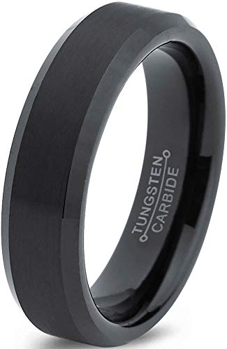 Charming Jewelers Tungsten Wedding Band Ring 6mm Men Women Comfort Fit Black Bevel Edge Brushed Polished Size 8.5