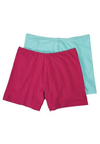 Comfort Choice Women's Plus Size 2-Pack Cotton Fitted Boxer Boyshort