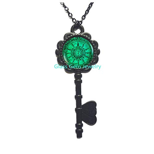 Charming Compass Key Pendant, Charming Compass Key Necklace, Turquoise Color Key Necklace, Art Gift for Men for Women, Glass Dome Key ()