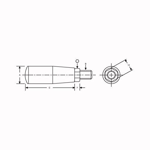 Vertex VRL-10H M10 20 x 56 mm Hex Key 14 mm Revolving 0.55 inches 0.79 x 2.21 inches 7003-285A Handle