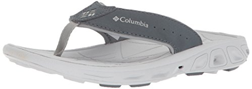 Columbia Unisex Youth TECHSUN FLIP Sport Sandal, Monument, Silver/Grey, 4 Regular US Big Kid