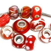 Pack of 10 or 20 Assorted or Colors Glass Beads Charms for Bracelets (10 Red)