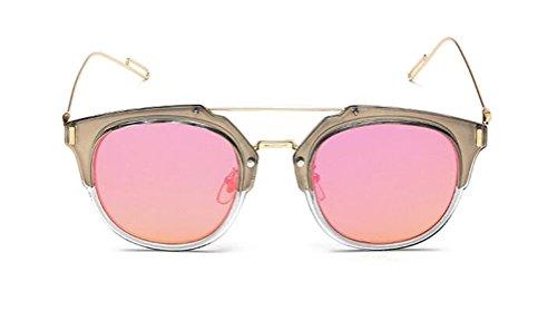 GAMT Vintage Tablet Sunglasses Flat Reflective Mirror Half Frame Sunglasses UV400 (Pink Lens, - Repair Glasses Costa