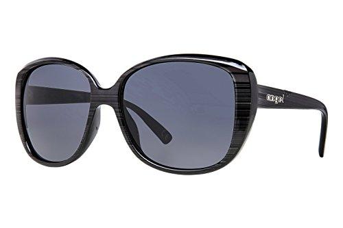 Anarchy Eyewear Women's Angel Driftwood Print Synne Sunglasses, Shiny Black/Dark - Eyewear Angel