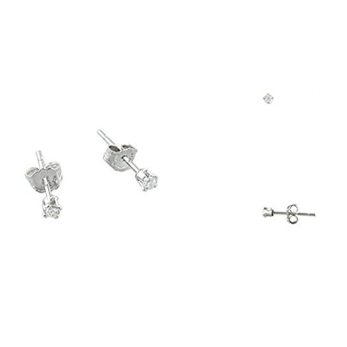 925 Sterling Silver Solitaire - 2MM Tiny Clear Ice White CZ 925 Sterling Silver Solitaire Stud Post Earrings Second Hole Cartilage