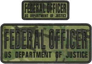 US CUSTOM POLICE FEDERAL AGENT EMB 4X10/&2X5 HOOK ON BACK TAN//BLK