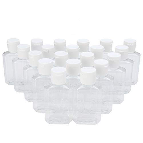MHO Containers | Clear Refillable Flip-Top Bottles - BPA/Paraben Free, 60mL/2oz- Set of 20