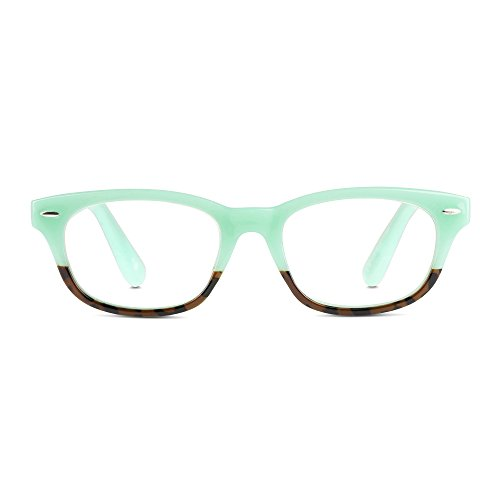 EyeSquared Reading Glasses - Premium Plastic Fashion Frames with Spring Hinge, for Men & Women of All Ages, Mint + - Glasses Nose Grips For Plastic