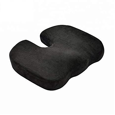 DXP care 45 * 35 * 8 cm Cojín Ergonómica ortopédica para coxis, Ideal para Silla de Oficina, Asiento del Coche, Silla de Ruedas (Negro)
