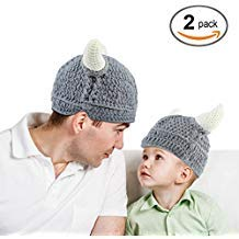 Baby Infantl and Parent Hat Toddler Knit Viking Beanie Crochet Handmade Cap Baby Photography Props (Toddler & Parent, Grey)]()