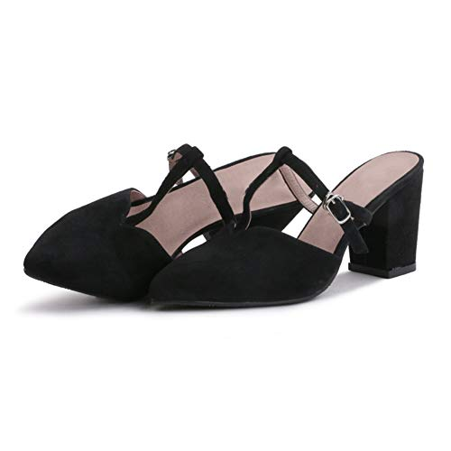 Sandales 7Cm Mode Talon Femmes La Épais Chaussures Bout Hauts Fermé Bascule Ceinture Boucle Black Plage Talons Talon De Forme Du Habillées 5 En Pointé Hauteur T À Opptw4q