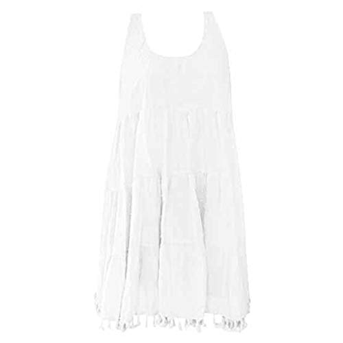 (ZZpioneer Women's Summer Loose Solid O-Neck Sleeveless Plus Size Tassels Tops Shirt Tunic Top(2XL,White))
