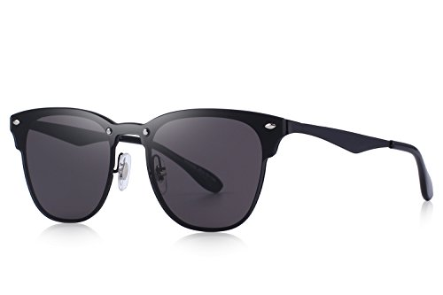 MERRY'S Men/Women Classic Retro Rivet Sunglasses 100% UV Protection S8208 (Black, 50)