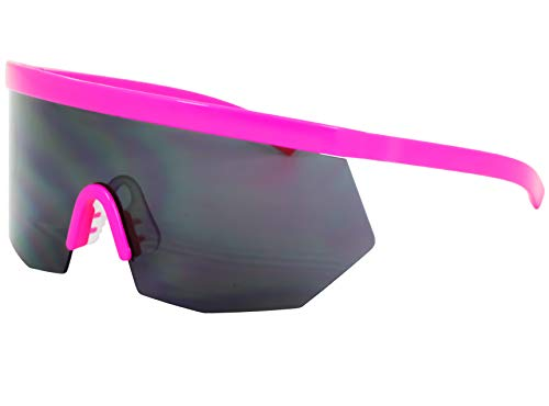 Flawless Eyewear Oversized Super Shield Rainbow Mirrored Lens Semi Rimless Style Retro Flat Top Sunglasses (Pink), X Large