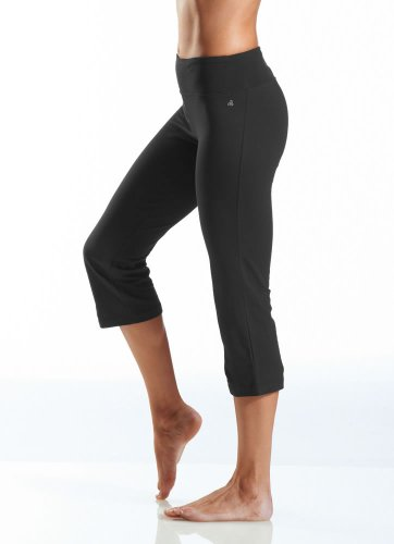 Fold Over Pant Crop - Jockey Women's Slim Capri Flare Athletic Pant, Deep Black, Large