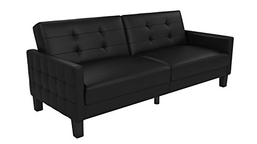 - DHP Miller Futon Sofa Bed in Rich Faux Leather Upholstery, Modern Style with Track Arms, Black