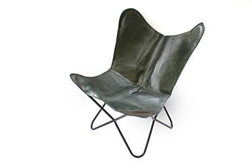 Real Leather Vintage Handmade Butterfly Chair Olive Green Folding Lounge Sling Accent Seating Chair (Sling Chair Leather Butterfly)