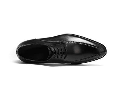 Negocios Suave Piel Negro A Británico Derby Con De Hechos Caballero Para Zapatos Mano Fondo Marrón Black Hombre v45q5H