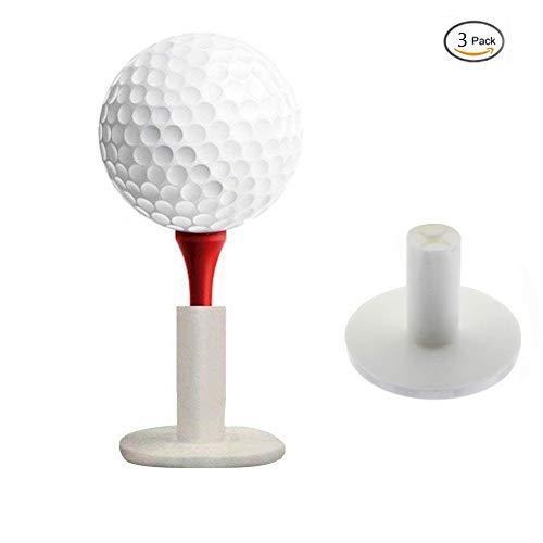 (KOFULL Durable Golf Rubber Tees Holder Golf Mat Range Tee Driving Range Practice Mat Pack of 3 (White))