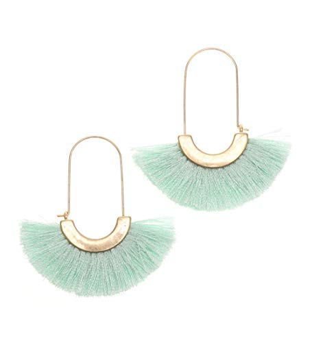 MIRMARU Silky Thread Lightweight Semi Half Circle Shape Fringe Tassel Dangle Drop Earrings for Women (Mint)