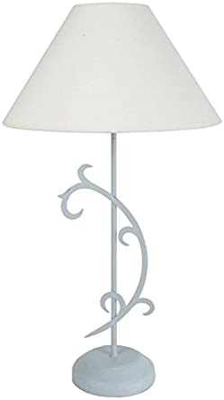 Tosel 63891 Domme lámpara de mesa metal/madera haya/algodón blanco ...