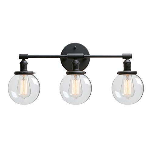 Three Light Sconce 3 Bulb - Phansthy 3 Light Wall Sconce Bathroom Vanity Light Black Sconce Light Fixture with 5.6 Inches Round Glass Canopy, Black