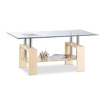 Relaxdays Table Basse Dessus Table Verre Trempe Pieds Bois Mdf Elegants Design Moderne 43x100x50cm Transparent Beige