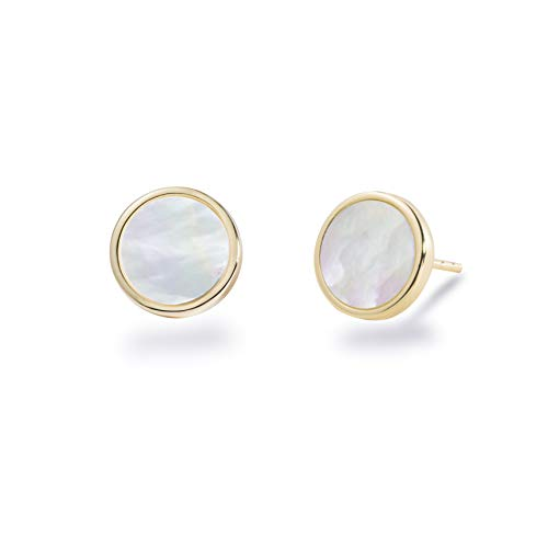 S.Leaf Minimalism Mother of Pearl Stud Earrings Sterling Silver Round Disc Stud Earrings for Women (yellow gold)