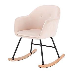eSituro SRC0030 Fauteuil à Bascule Fauteuil Relaxant Chaise de Salon en Velours,Chaise à Bascule Crème