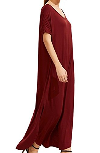 Plus Loose Solid Coolred Sleeves Short Dress Size Red Women Wine Backless Split Ua55w8