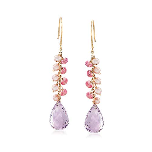 Ross-Simons 16 ct. t.w. Pink Amethyst With Pink Sapphire and Cultured Pearl Cluster Wire Drop Earrings in 14kt Yellow Gold