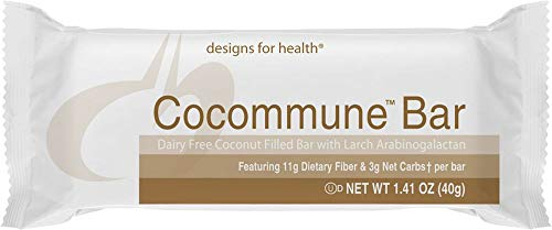 Designs for Health Keto-Friendly Fiber Bars in Chocolate-Coconut - Cocommune Bar, 3 Net Carbs + 11 Gram Fiber, Dairy-Free (18 Bars)
