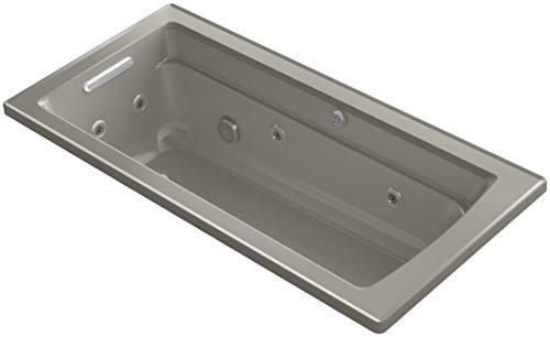 Fixture Cashmere (KOHLER K-1949-XHG-K4 Archer 66-Inch x 32-Inch Drop-In Whirlpool Bubble Massage Air Bath with Reversible Drain, Cashmere)
