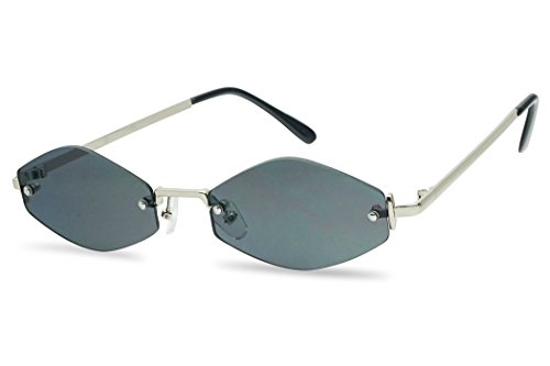 SunglassUP 90's Retro Vintage Small Tiny Narrow Rimless Oval Geometric Designer Color Tinted Sun Glasses (Silver Frame   Black)