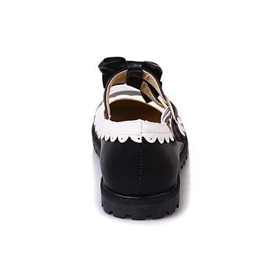 Cómodo y elegante soporte de zapatos de las mujeres pisos primavera verano otoño invierno otros sintética oficina y carrera vestido casual soporte de talón hebilla de lazo negro y rosa rojo negro