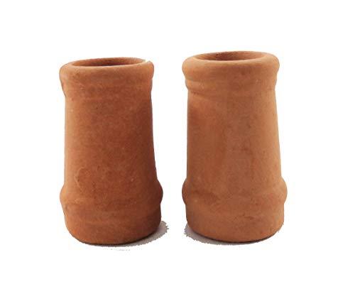 Melody Jane Dollhouse Round Chimney Pots Terracotta Medium 1:12 Scale