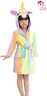 LUCKAPPY Girls Hooded Unicorn Bathrobes, Comfortable Soft Flannel Pajamas Sleepwear Loungewear for Kids, Toddl