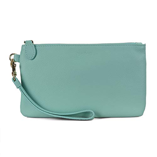 Befen Women Genuine Leather Clutch Wallet, Smartphone Wristlet Purse - Fit iPhone 8 Plus (Turquoise)