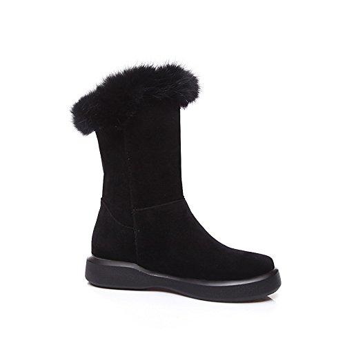 moda botines botas de redonda mujer de nieve plana Otoño Mid botas Fleece botines botas botas Cuero Bota Calf Punta de Green Zapatos Nubuck Invierno de HSXZ 7Rqw6OU