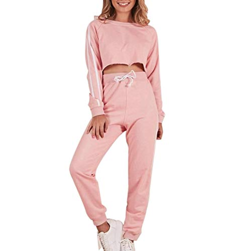 Price comparison product image OWMEOT Womens Sports Pullover Hoodie Tracksuit Sweat Pants Set 2 Pcs (Pink,  S)
