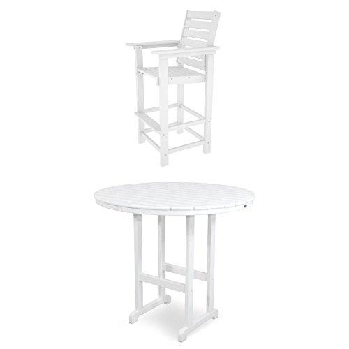 Polywood Captain 3 Piece Bar Set, Classic White